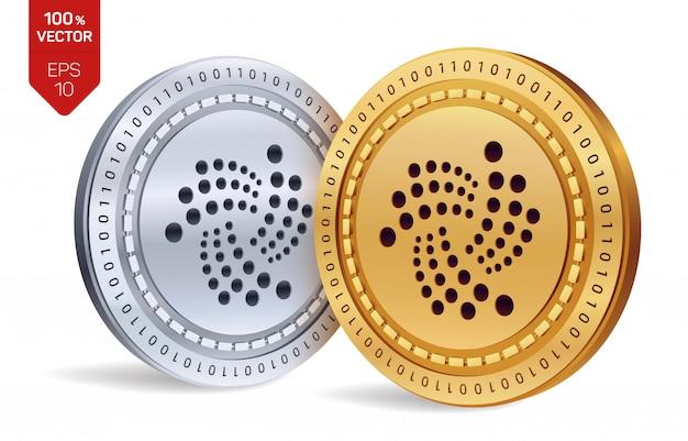 Moedas de ouro e prata de criptomoeda com iota símbolo isolado no fundo branco.