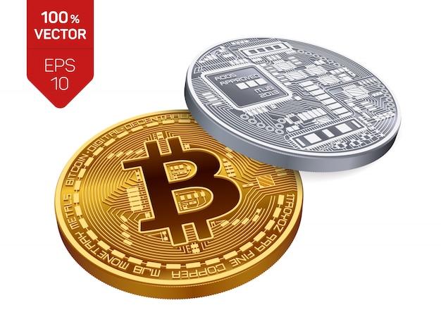 Moedas de ouro e prata de criptomoeda com símbolo de bitcoin isolado no fundo branco.