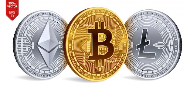 Moedas de ouro e prata de criptomoeda com símbolo de bitcoin, litecoin e ethereum em fundo branco.