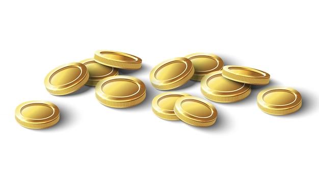 Moedas de ouro. ilustração de ícone isolado no fundo branco.