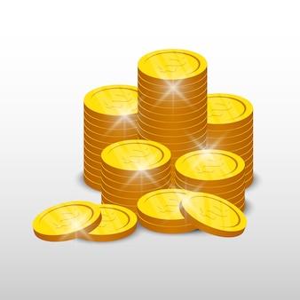 Moedas de ouro isoladas