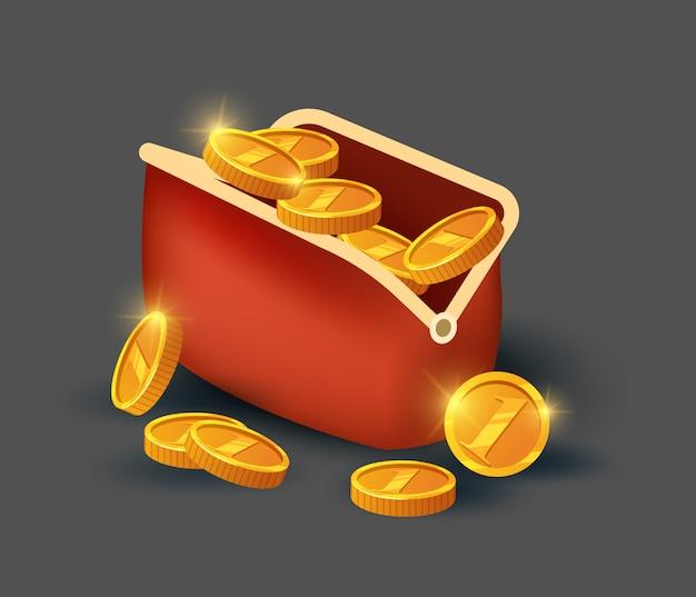 Moedas de ouro na bolsa de couro