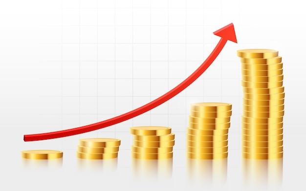 Moedas de ouro realistas no fundo do gráfico de negociação