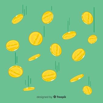 Moedas de rupia indiana caindo fundo