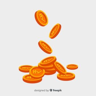 Moedas de rupia indiana caindo