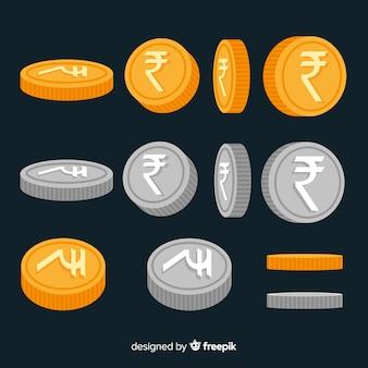Moedas de rúpias indianas de prata e ouro