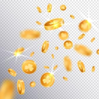 Moedas de sorte ouro 3d