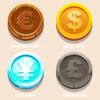 Moedas de textura de diferentes moedas