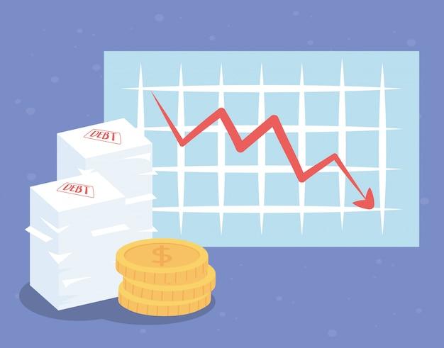 Moedas do gráfico de flechas da falência e papéis da dívida - crise financeira