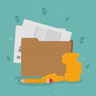 Moedas e caneta para documentos fiscais