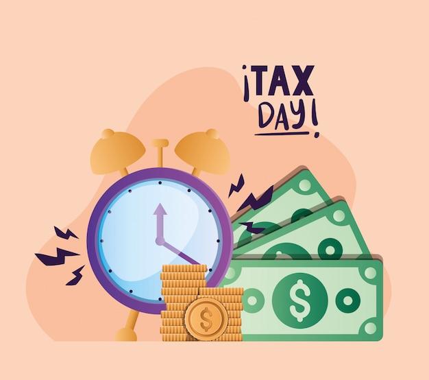 Moedas e contas de relógio dia fiscal vector design