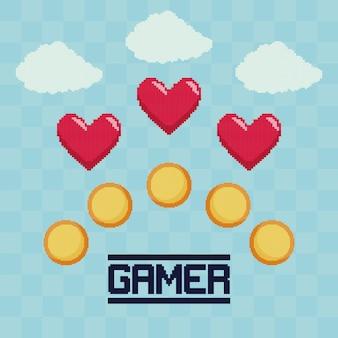 Moedas e corações clássicos de videogames