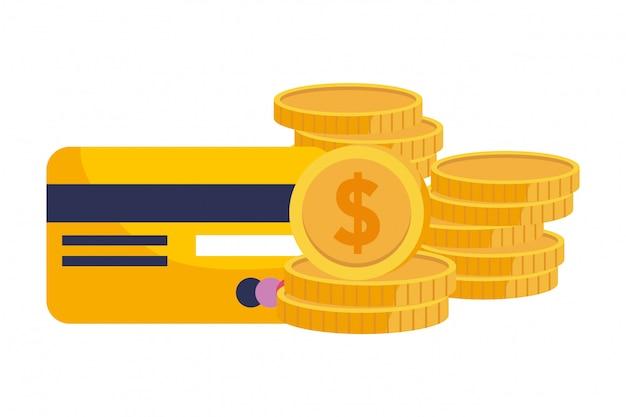 Moedas e ilustração de cartão de crédito