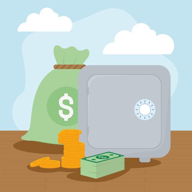 Moedas e notas do cofre do saco de dinheiro