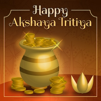 Moedas e vaso feliz akshaya tritiya