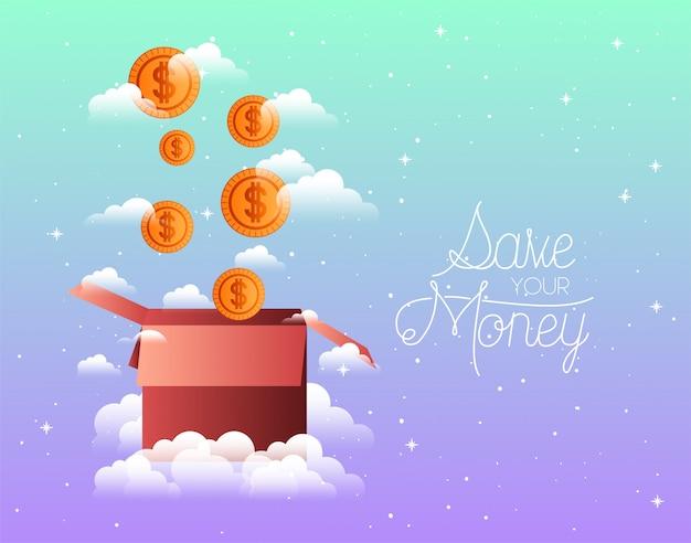 Moedas em dinheiro com caixa