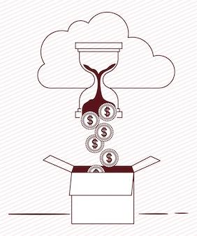 Moedas em dinheiro com nuvem e caixa