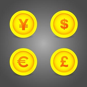 Moedas símbolos botões