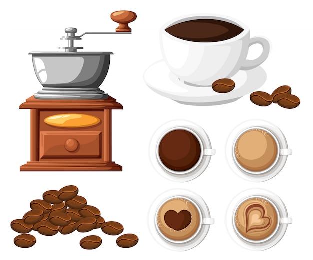 Moedor de café clássico com um monte de moinho manual de grãos de café e uma ilustração de xícara de café no fundo branco