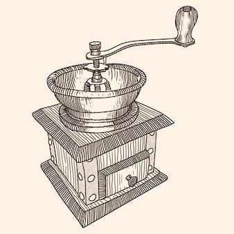 Moedor de café de madeira manual com uma tigela para grãos de café. esboço linear rápido.