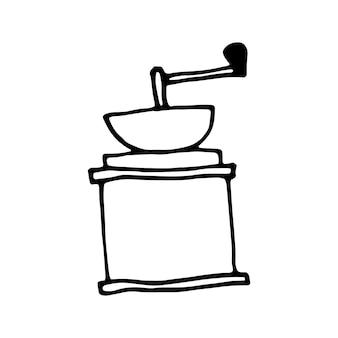 Moedor de café de mão desenhada. ilustração do doodle.