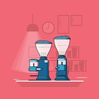 Moedor de café plana vector design.