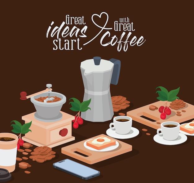 Moedor de cafeteira moka xícaras de grãos de smartphone, bagas e folhas de design de bebida cafeína café da manhã e tema de bebidas.