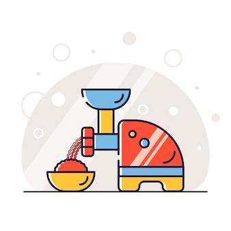 Moedor de carne utensílios de cozinha ilustração fundo