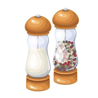 Moedor de sal e pimenta, agitador de especiarias, ilustração do moinho de pimenta preta.