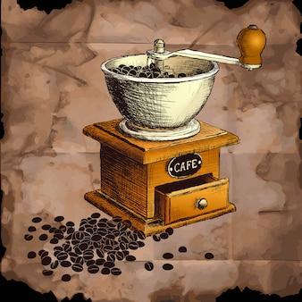 Moinho de café. mão ilustrações desenhadas.