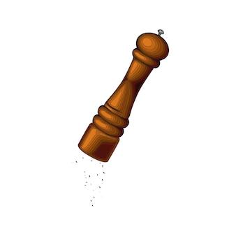 Moinho de pimenta de madeira italiano, moedor de especiarias, bolacha de pimenta, moedor de sal. ferramenta de tempero. equipamento de cozinha. ilustração gráfica isolada