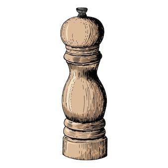 Moinho de pimenta desenhada de mão
