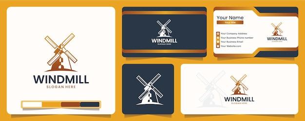 Moinho de vento, agricultura, design de logotipo e cartão de visita
