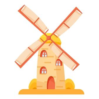 Moinho de vento cartum tradicional