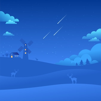Moinho de vento, céu azul, paisagem, paisagem, estrelas cadentes, natureza, fundo