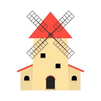 Moinho de vento como produção de alimentos orgânicos. conceito de fábrica, telhado, terras agrícolas, celeiro, casa de fazenda, padaria, marco. ilustração em vetor design gráfico moderno tendência estilo plano no fundo branco