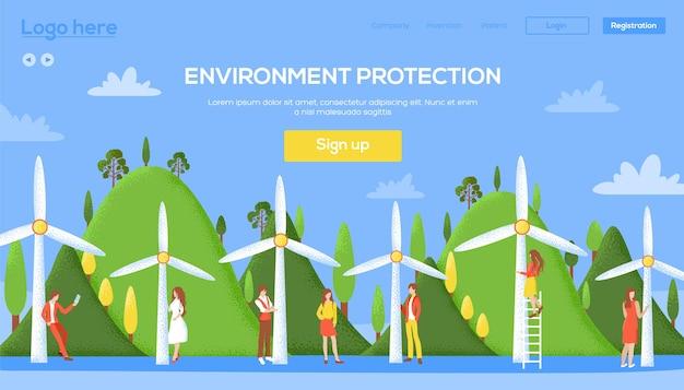 Moinho de vento de ecologia no cabeçalho da interface do usuário da natureza, insira o site, página de destino proteção ambiental