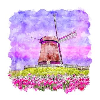 Moinho de vento holanda em aquarela esboço desenhado à mão