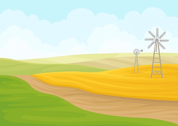 Moinho de vento no campo amarelo.