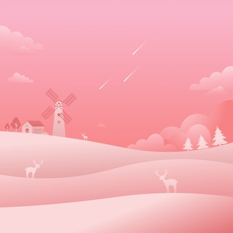 Moinho de vento, paisagem rosa, paisagem, estrelas cadentes, natureza, fundo
