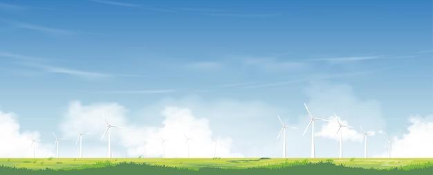 Moinho de vento para produção de energia elétrica em campos de grama verde