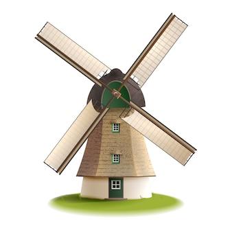 Moinho de vento pintado conceito de cor
