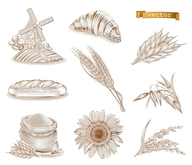 Moinho, pão e trigo. estilo antigo. conjunto de ícones de gravura