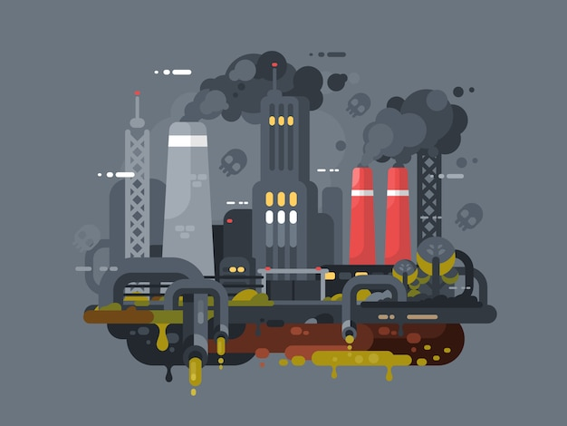 Moinhos e fábricas poluindo o meio ambiente