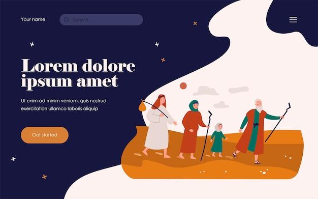 Moisés, o profeta, guiando o povo cristão pelo deserto. ilustração vetorial para personagens bíblicos, mitologia, história, conceito de cristianismo