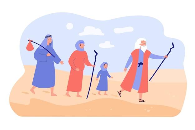 Moisés, o profeta, guiando o povo cristão pelo deserto.