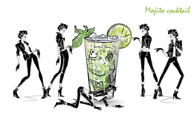 Mojito cocktail. menina da moda no estilo de desenho com coquetel. ilustração vetorial