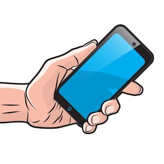 Mokup com smartphone semitransparente na mão