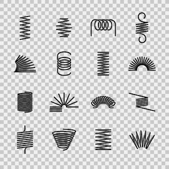 Mola de aço. forma flexível das molas do fio de aço da bobina espiral. ícones de linha de equipamentos de pressão de absorção