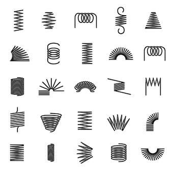 Molas de metal. espiral trançada, ícones de linha de mola preta de suspensão de fio de bobina flexível
